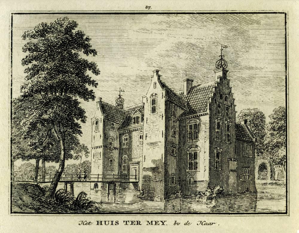 Huis ter Mey in Haarzuilens. Tekening Jan de Beijer, gravure Hendrik Spilman (Uit: Het Verheerlykt Nederland, Isaac Tirion, 1745/1774)
